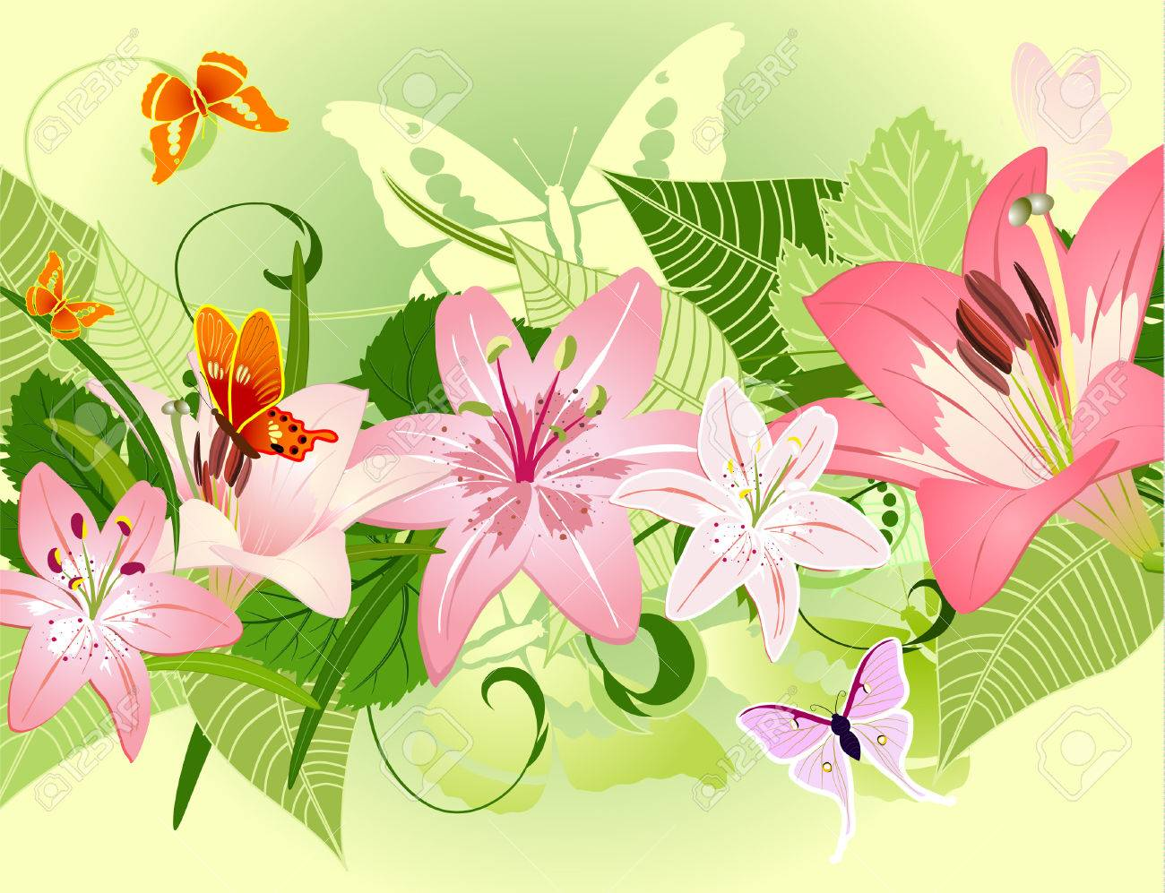 summer pattern with lilies Stock Vector - 6735937