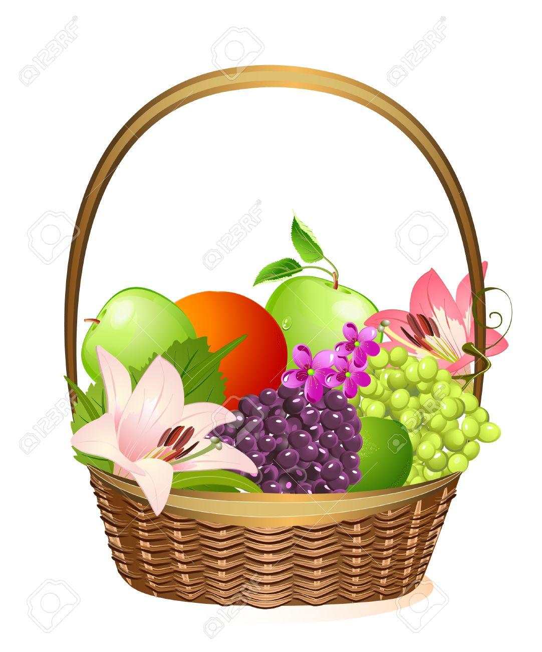 wicker fruit basket with flowers Stock Vector - 6795649