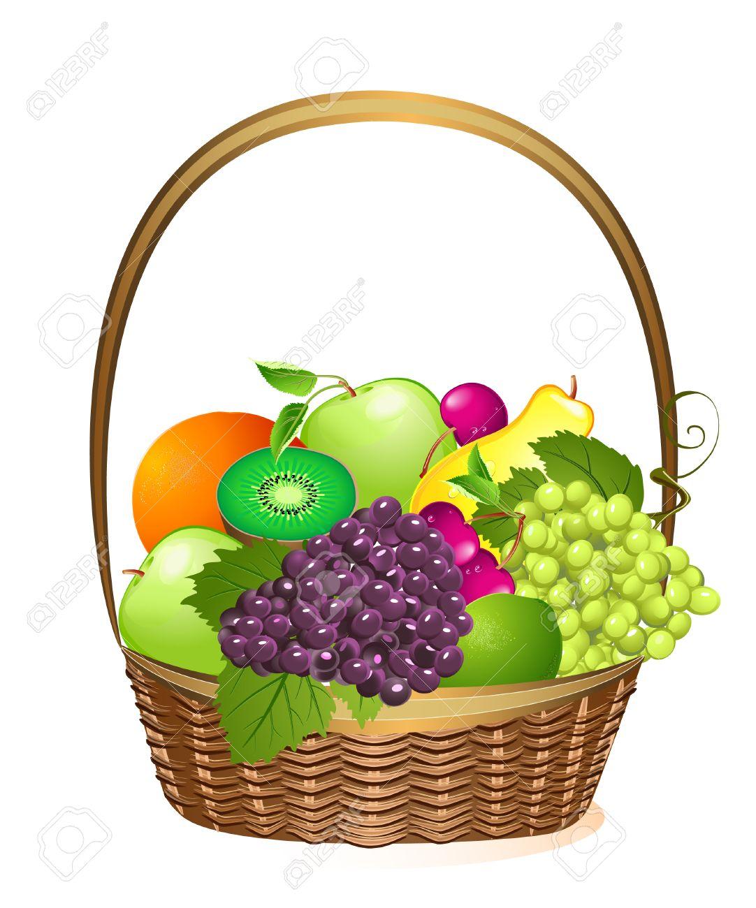 wicker basket with fruit Stock Vector - 6795655