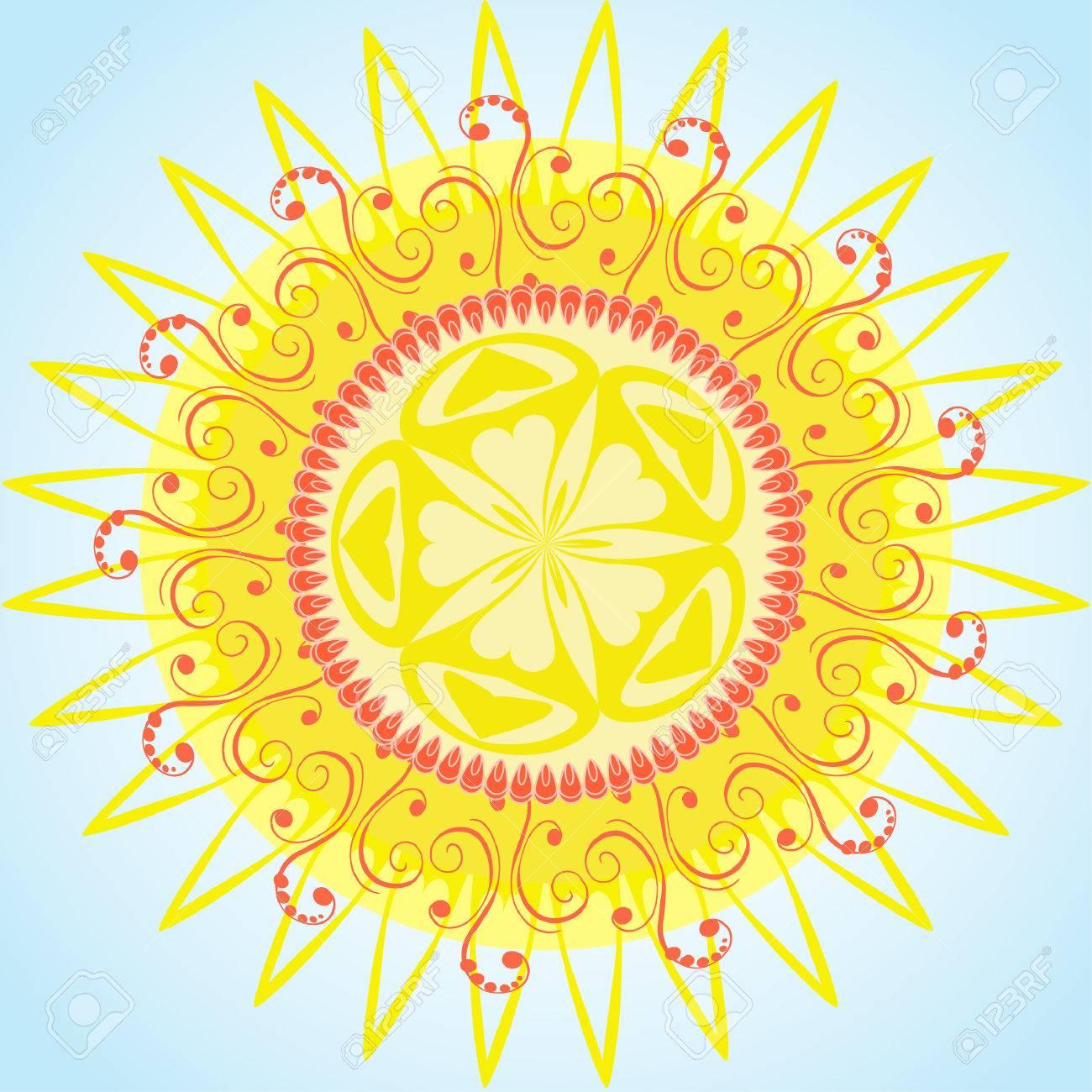arabesque pattern sun Stock Vector - 6979509