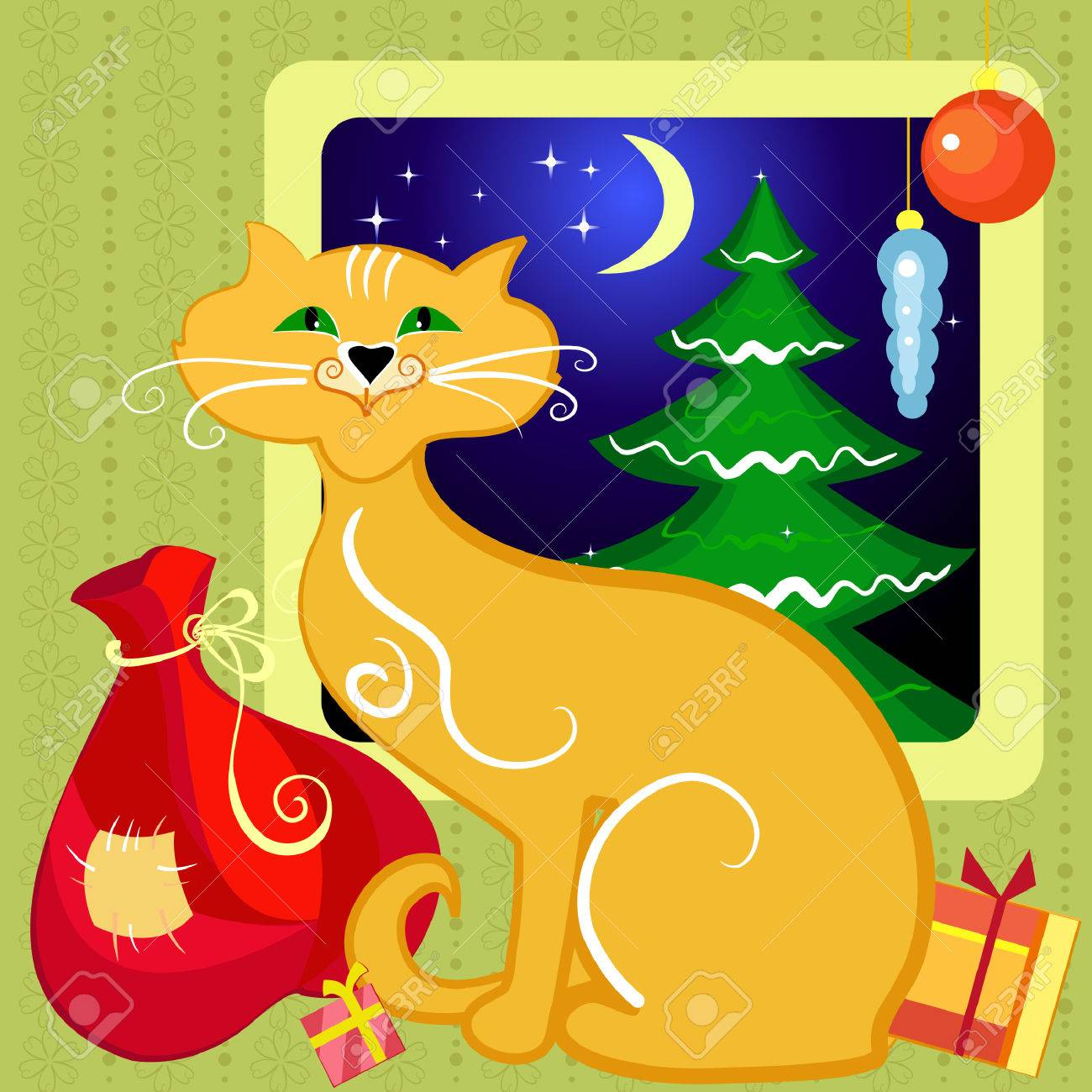 Red Cat with Christmas gifts Stock Vector - 7451213