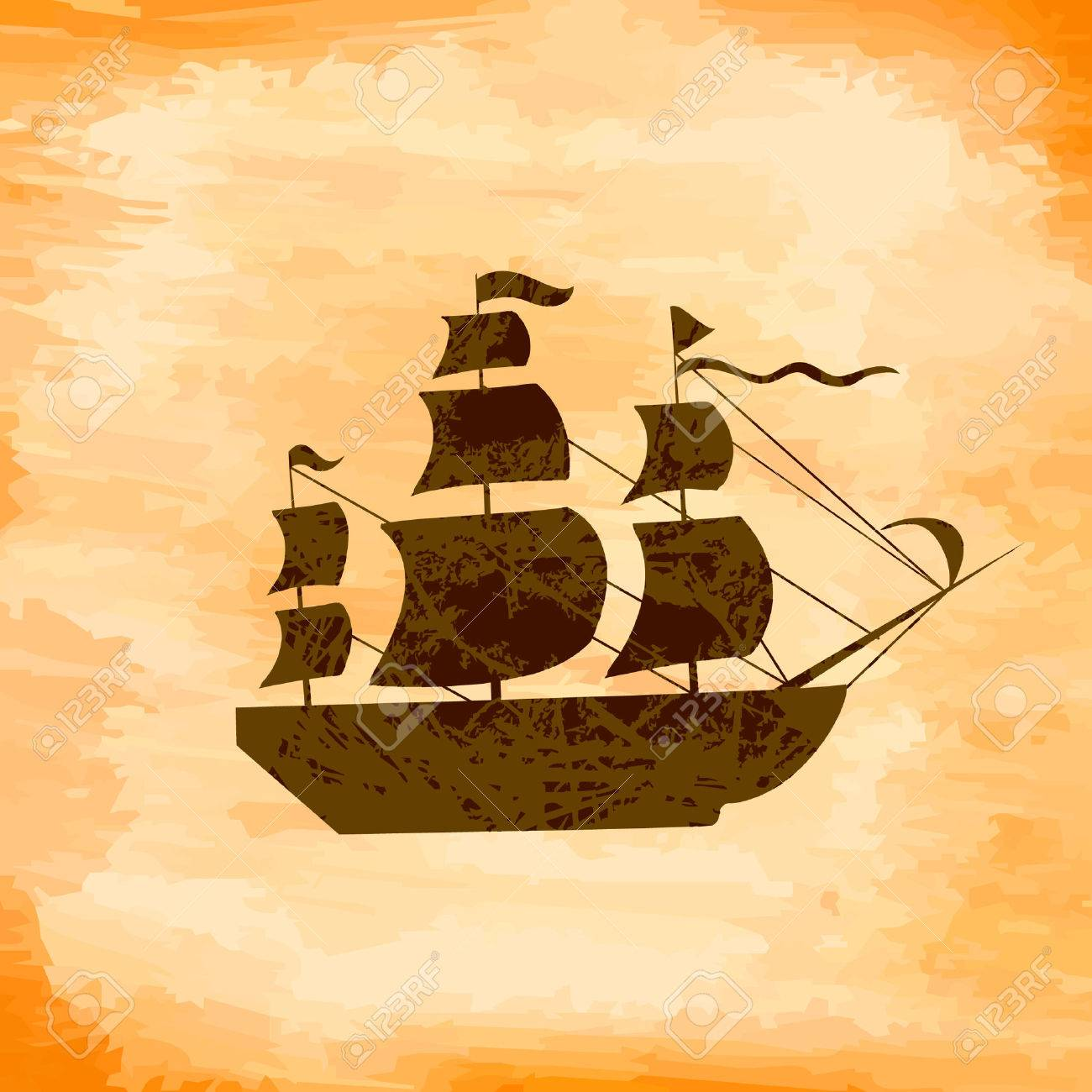Boat on the background grunge Stock Vector - 7560669