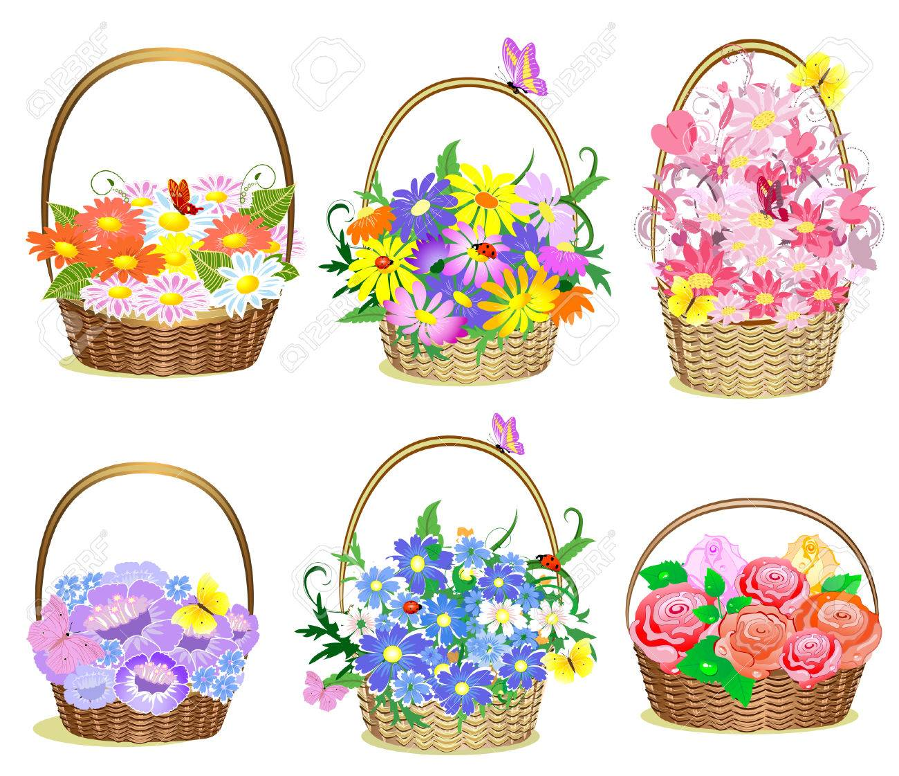 Baskets of flowers Stock Vector - 7718424