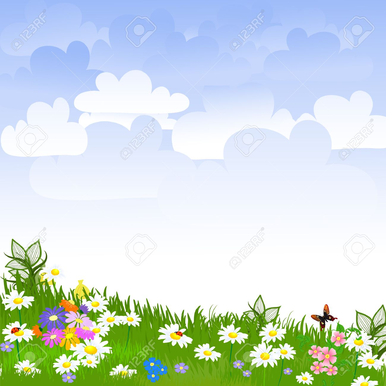 Flower garden cartoon - Flower Garden Flower Clearing Illustration