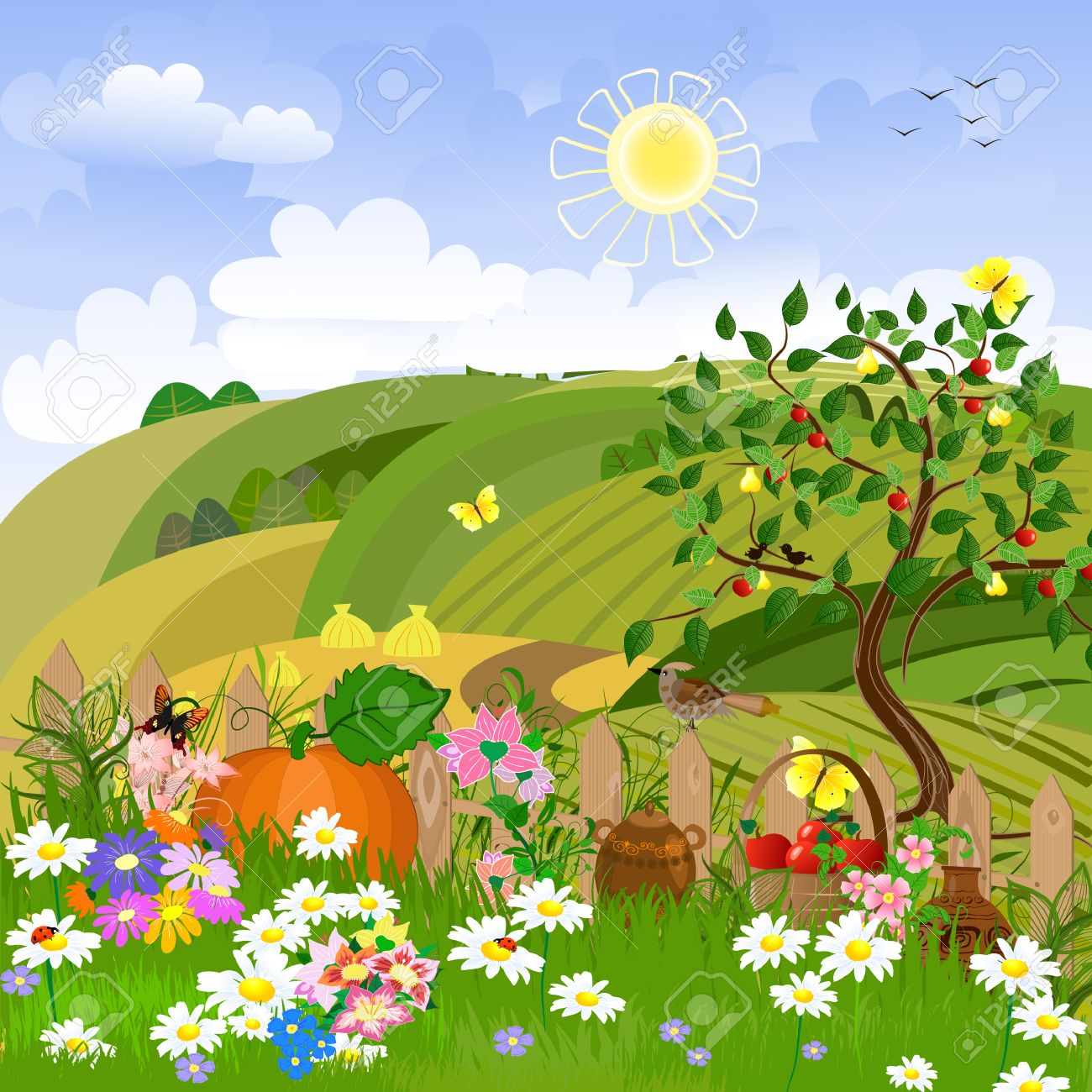 Rural landscape with fruit trees Stock Vector - 8014527