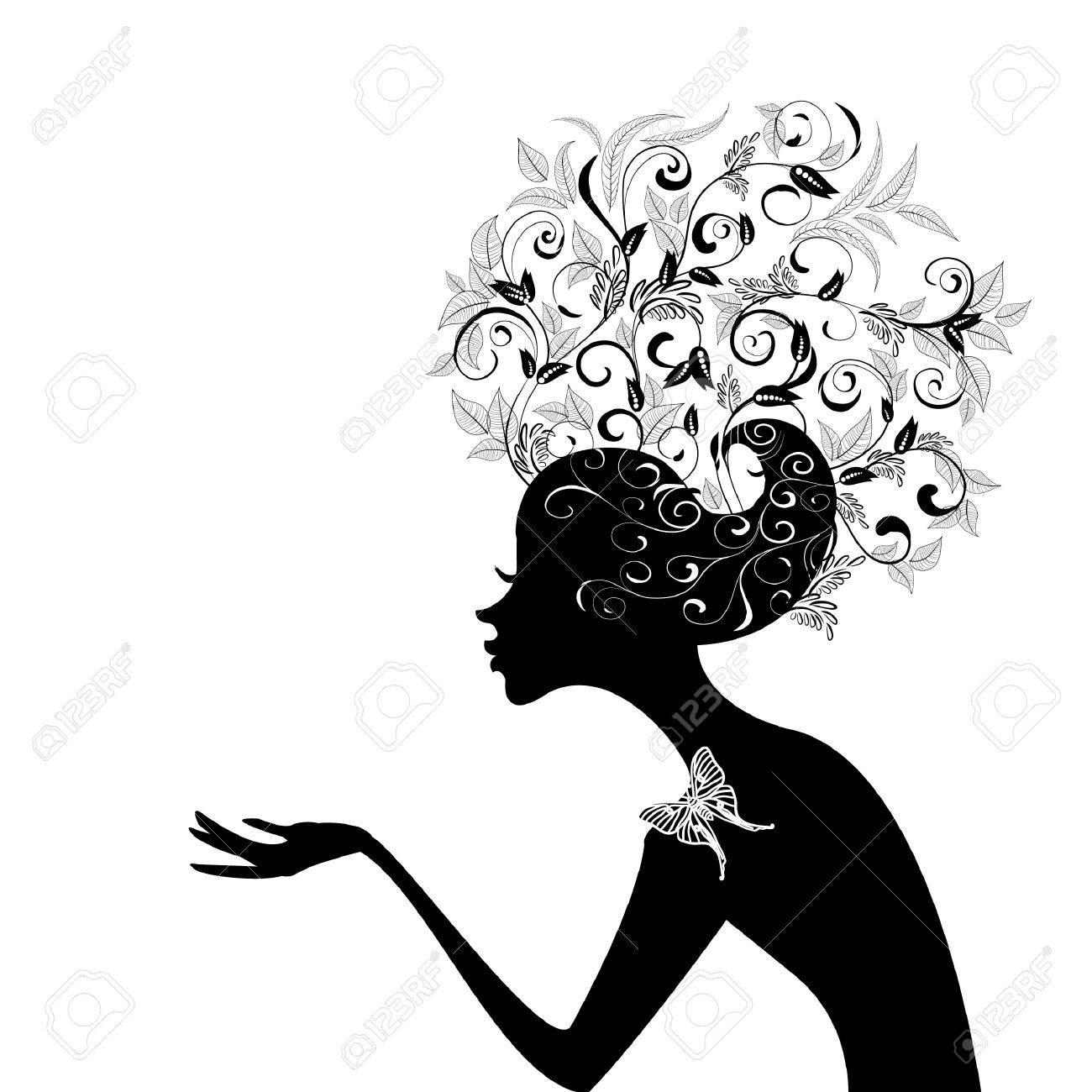 Profile of a girl with decorated hair Stock Vector - 8076379