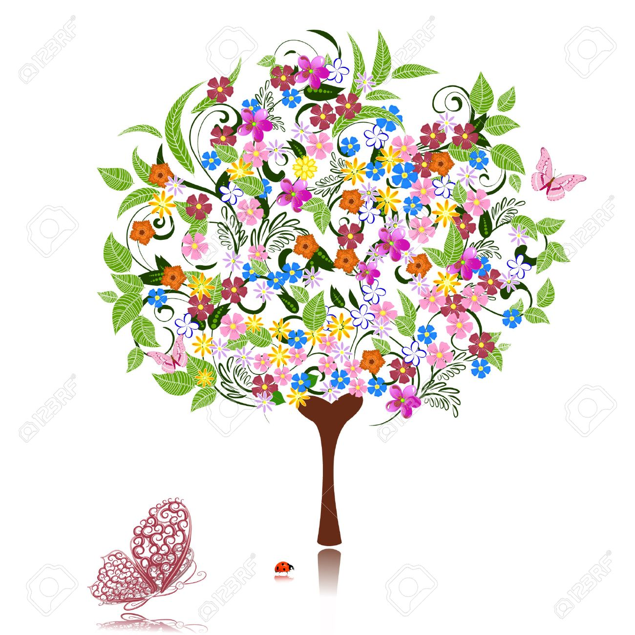 abstract tree with flowers Stock Vector - 8132919
