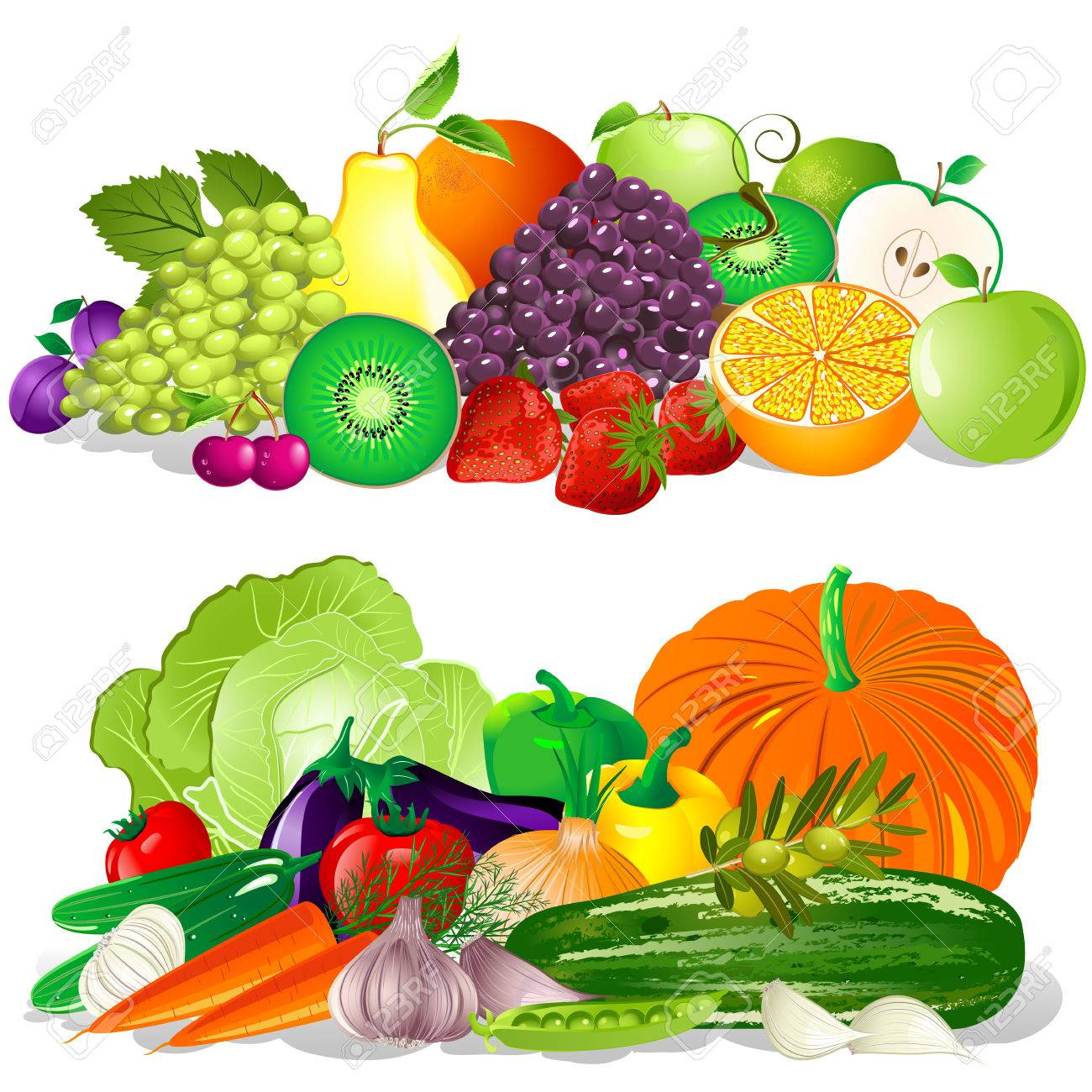113 742 fruit and vegetables stock vector illustration and royalty