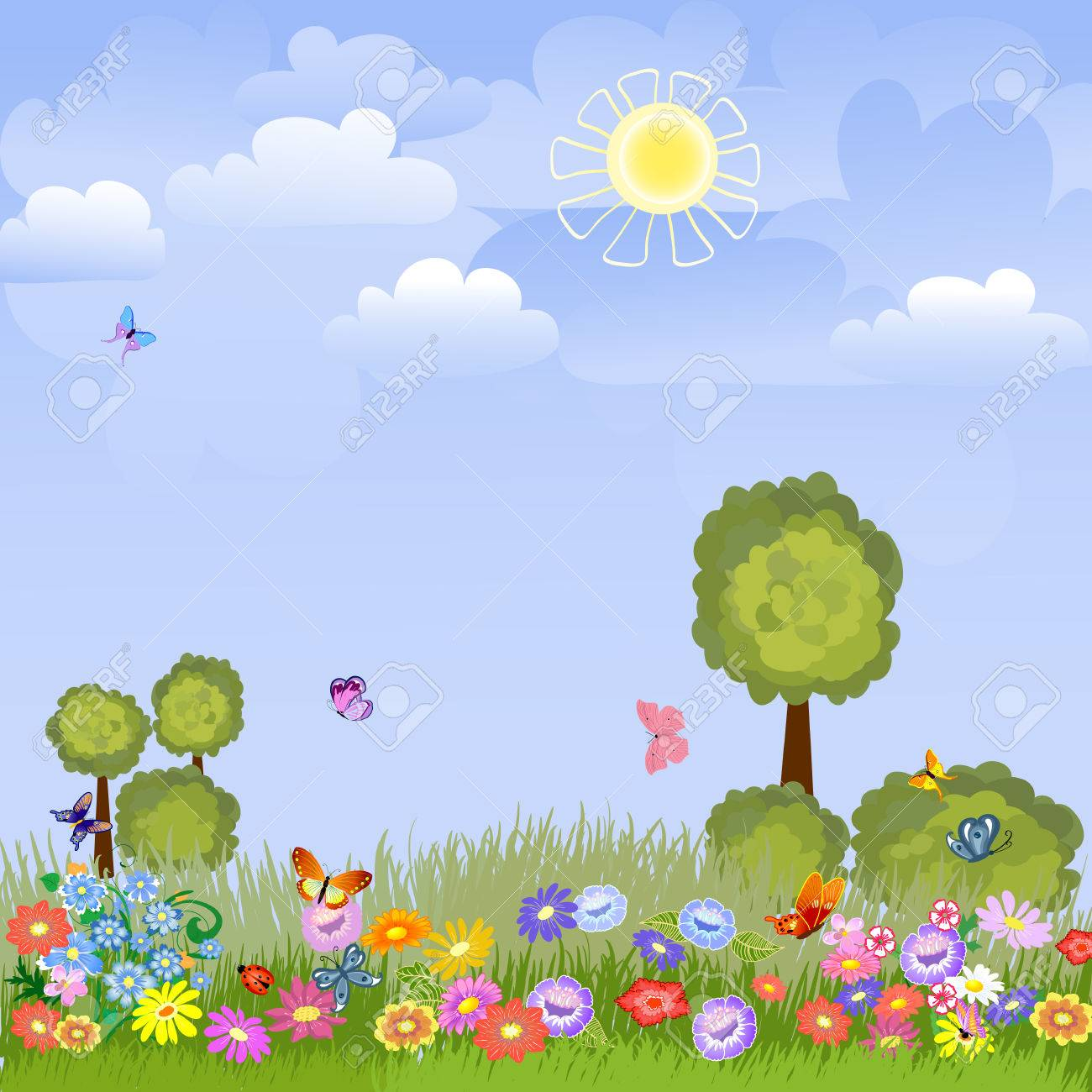 summer landscape with flowers Stock Vector - 8753353