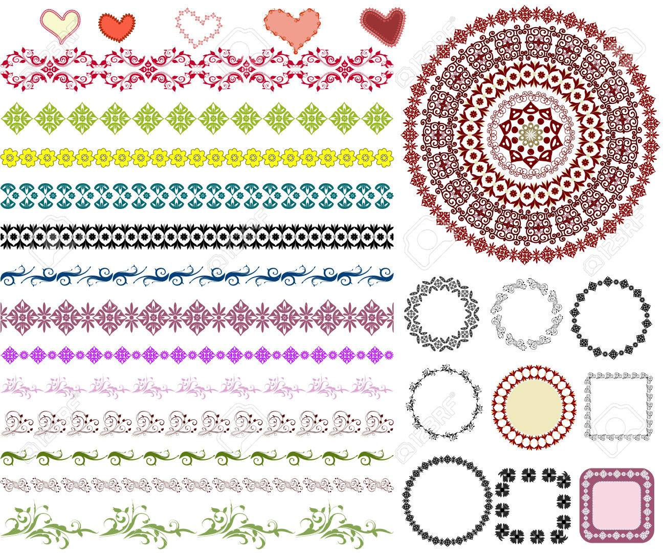 set of arabesque pattern frame border Stock Vector - 8753370
