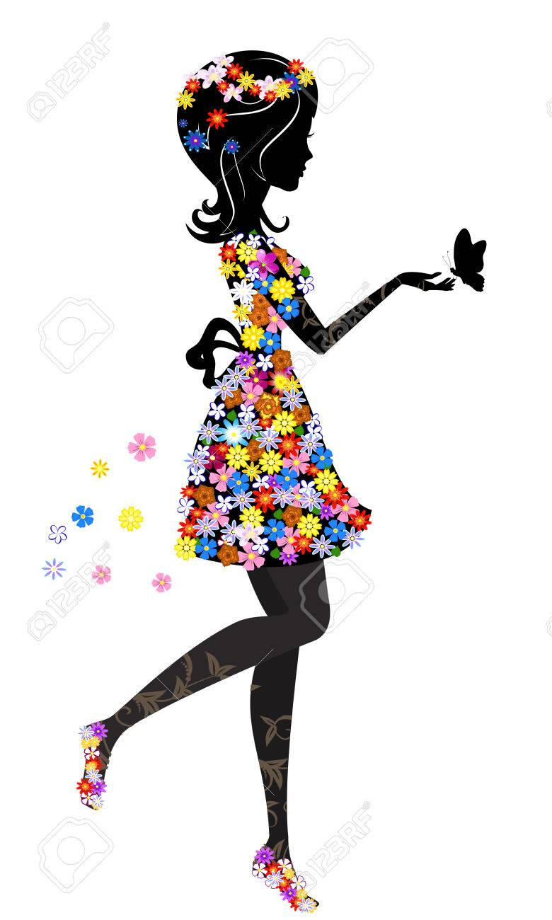 Flower girl with butterfly Stock Vector - 8960007