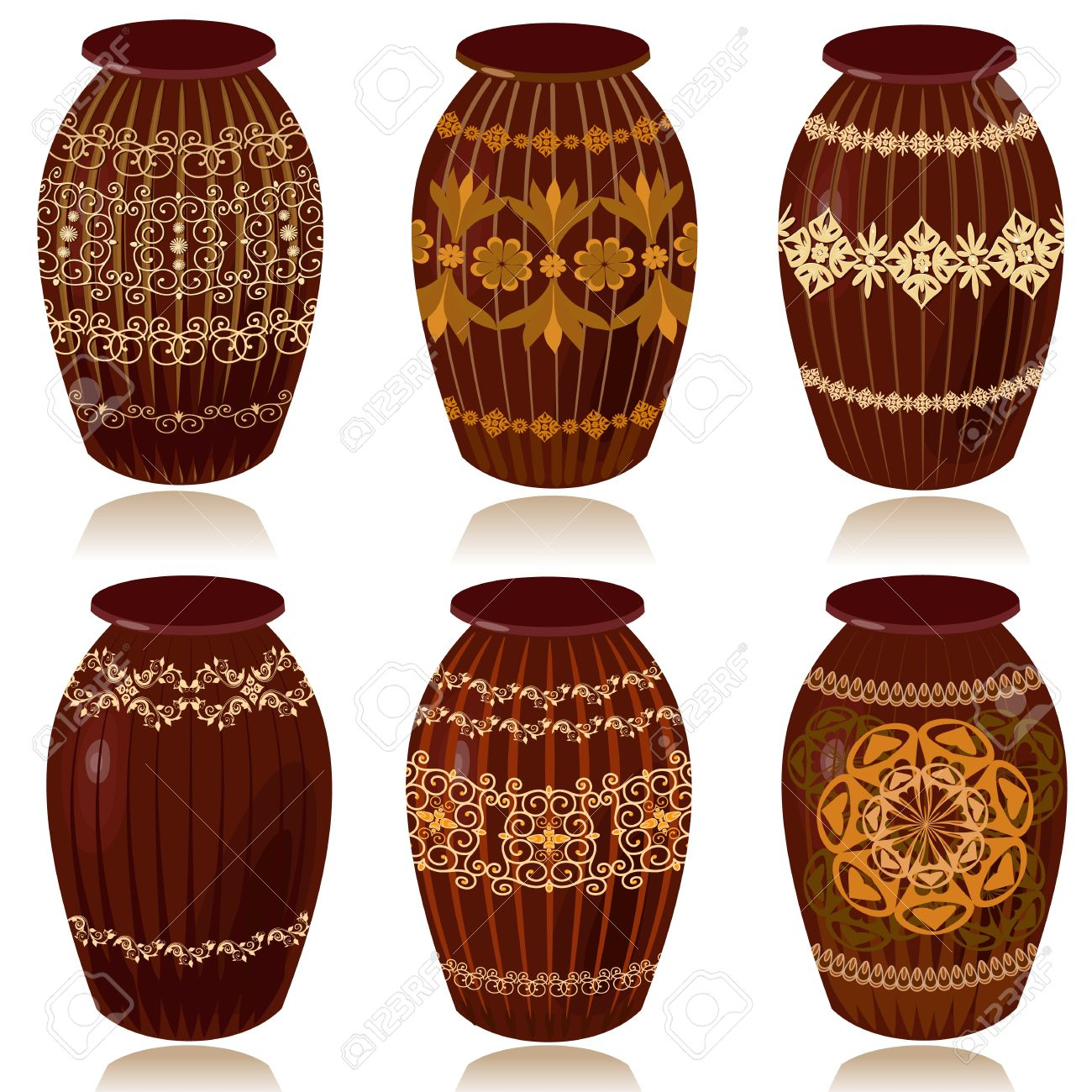 decorative ceramic vases stock vector 9180781 - Decorative Vases