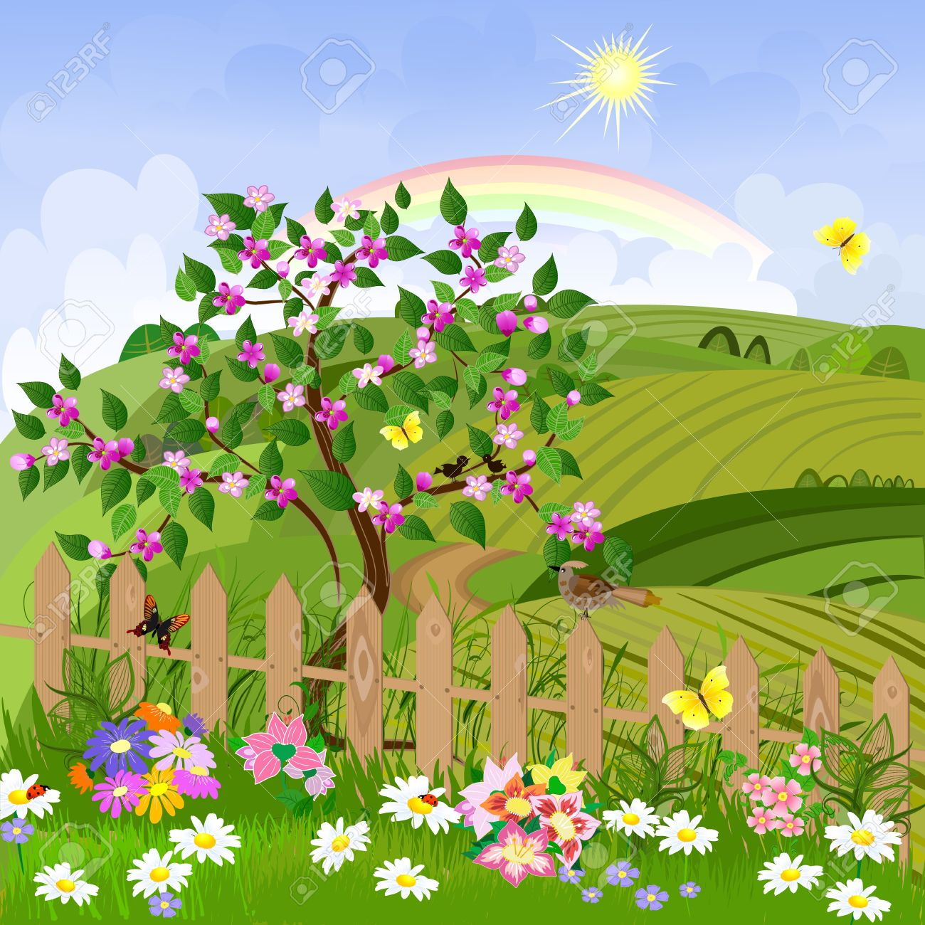 Spring Landscape Royalty Free Cliparts Vectors And Stock Illustration Image 9233831