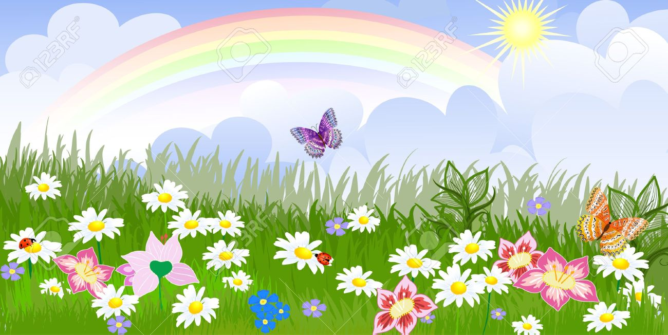 141 gardens are rainbows on land stock vector illustration and