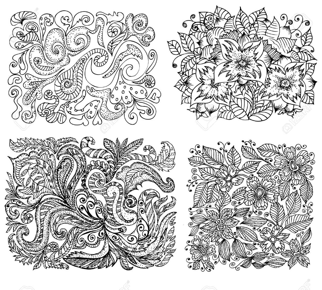 set of floral background is black Stock Vector - 9287031