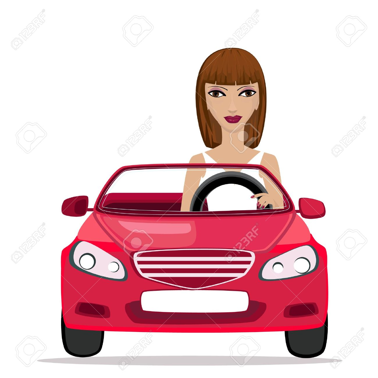 Image result for free clip art cartoon woman in a car