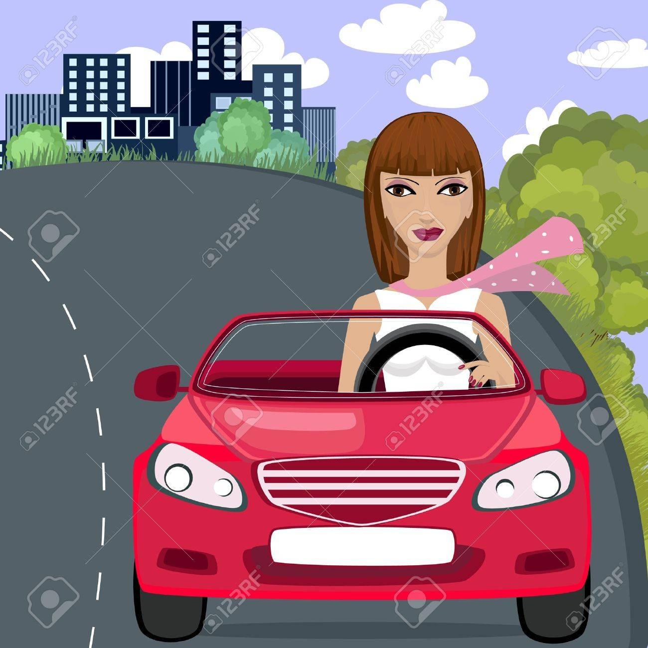 girl in red car Stock Vector - 9354885