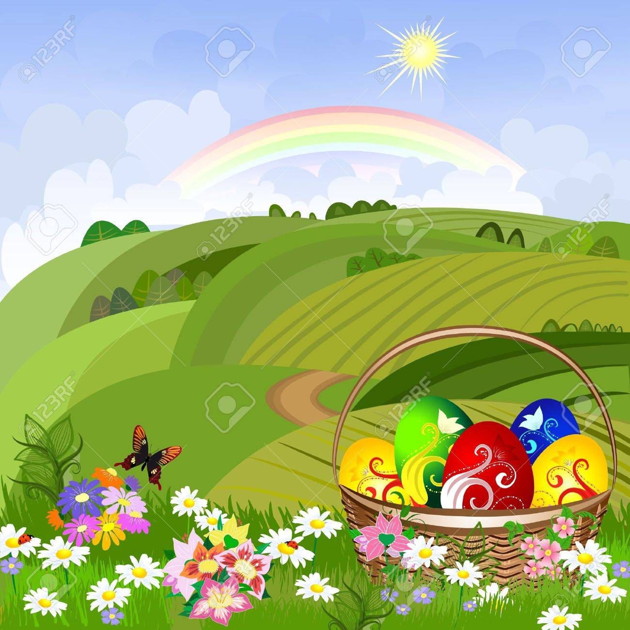 Easter clearing with a basket Stock Vector - 9354894