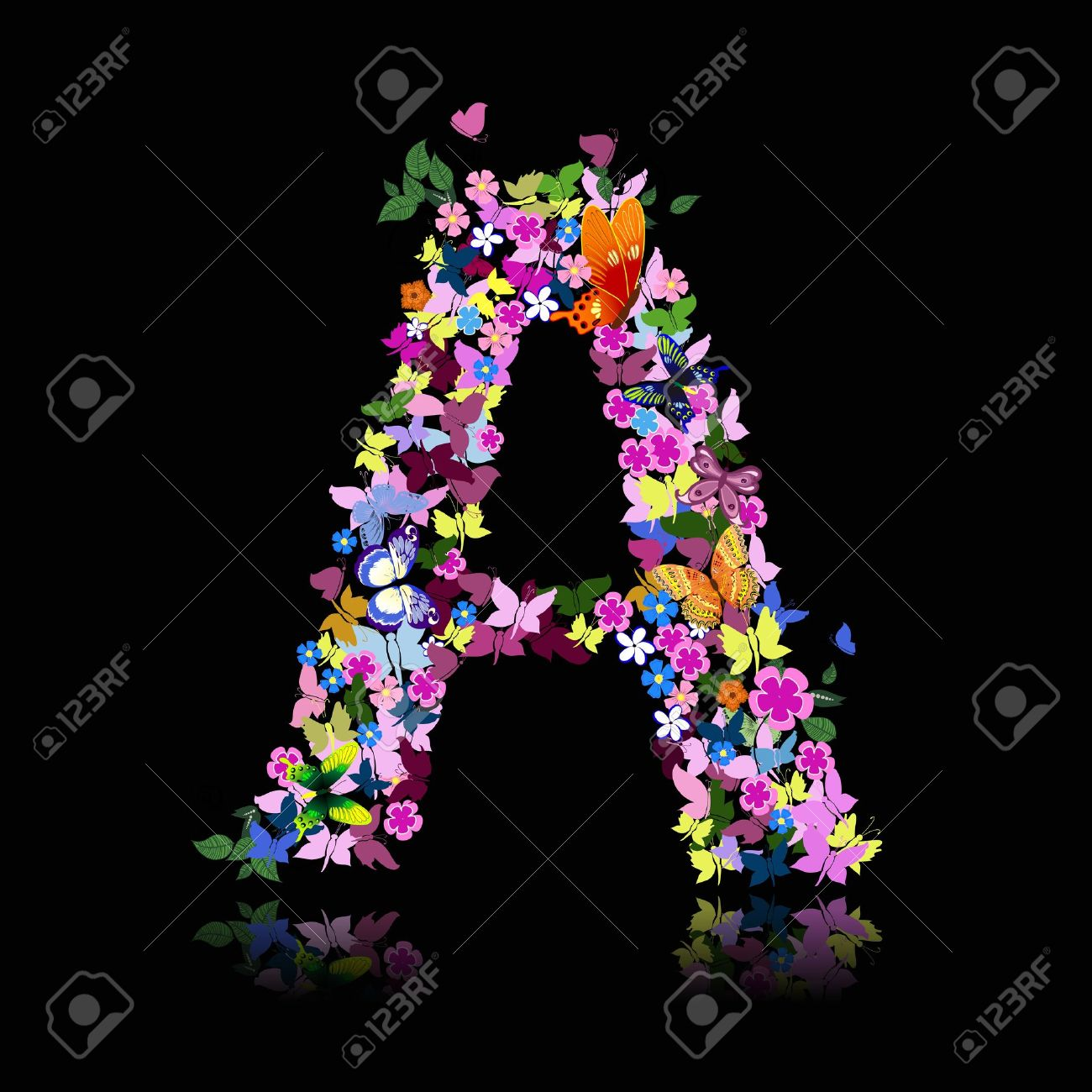 letter of flowers and a butterfly Stock Vector - 9422429