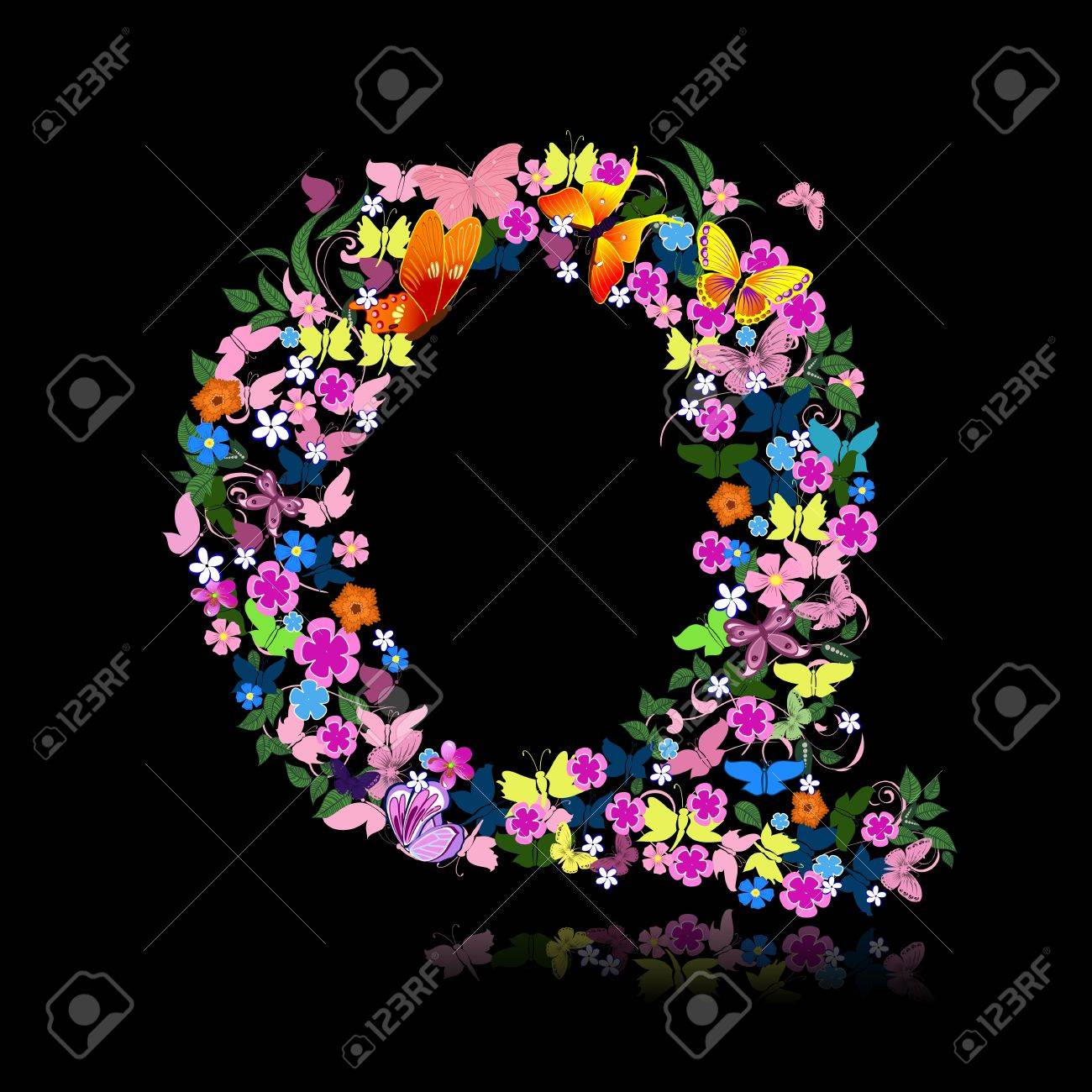 letter of flowers and a butterfly Stock Vector - 9422559