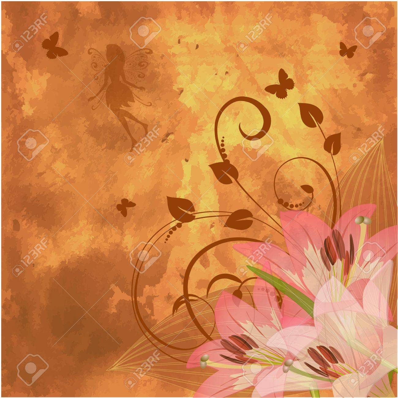 floral retro fantasy Stock Vector - 9506959