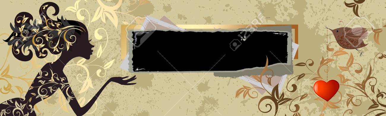 vintage grunge banner with a girl Stock Vector - 9560731