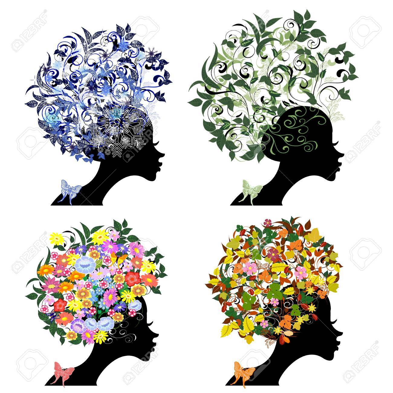vintage floral hairstyle seasons Stock Vector - 9663886