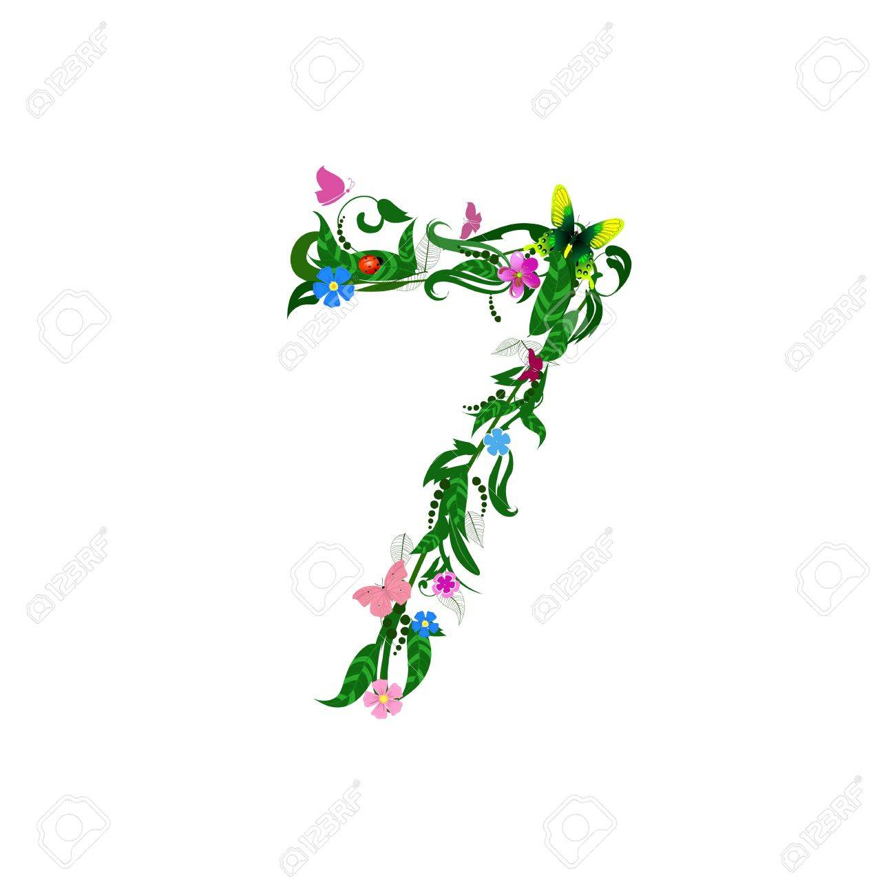 Flower number of butterflies Stock Vector - 9829063