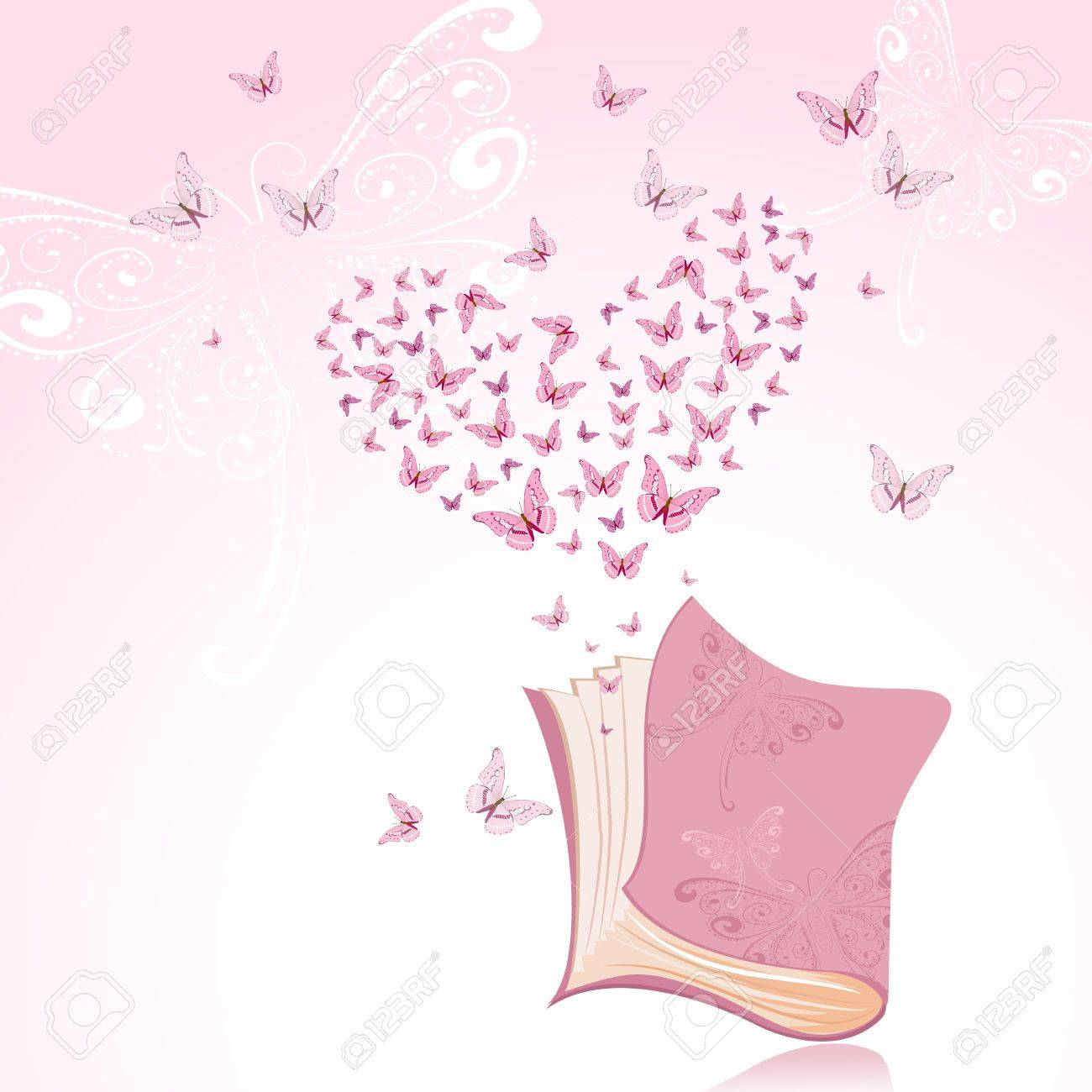 Book with pink butterflies Stock Vector - 9829089