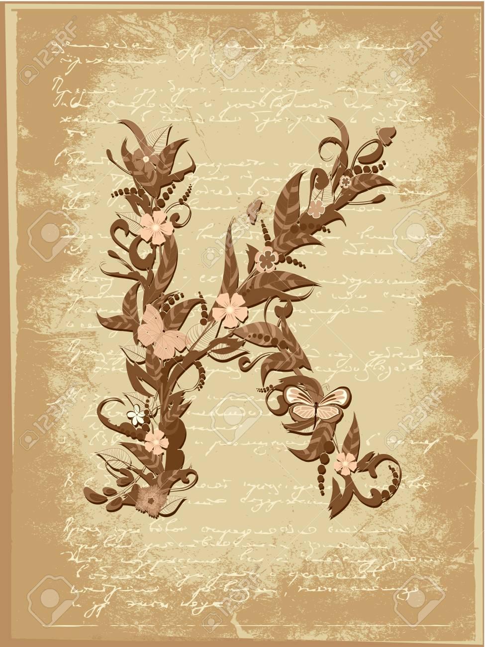Floral letter on paper grunge Stock Vector - 9851503