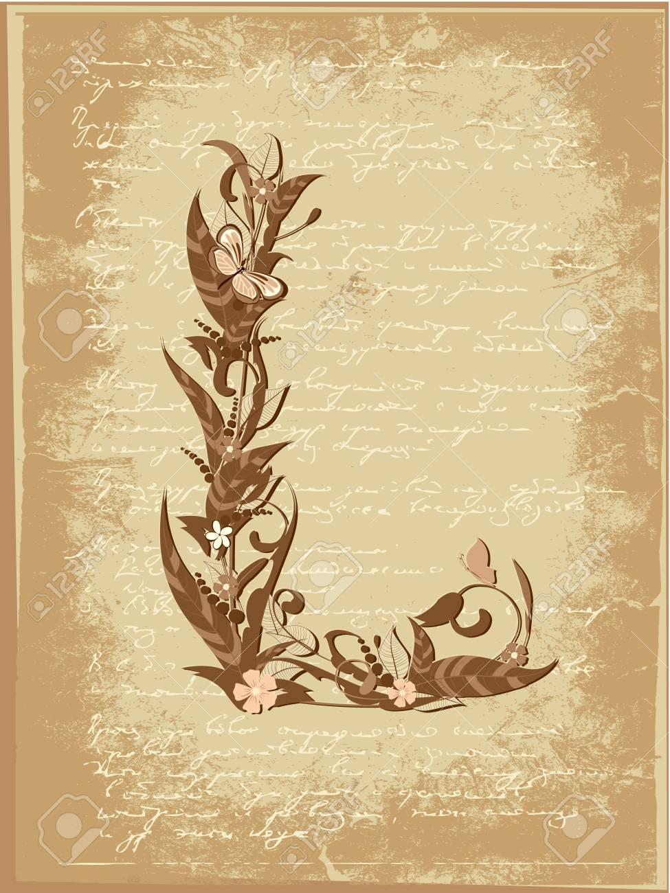 Floral letter on paper grunge Stock Vector - 9851491