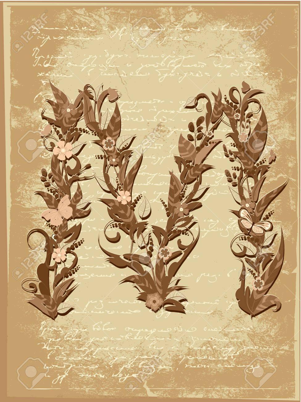 Floral letter on paper grunge Stock Vector - 9851515