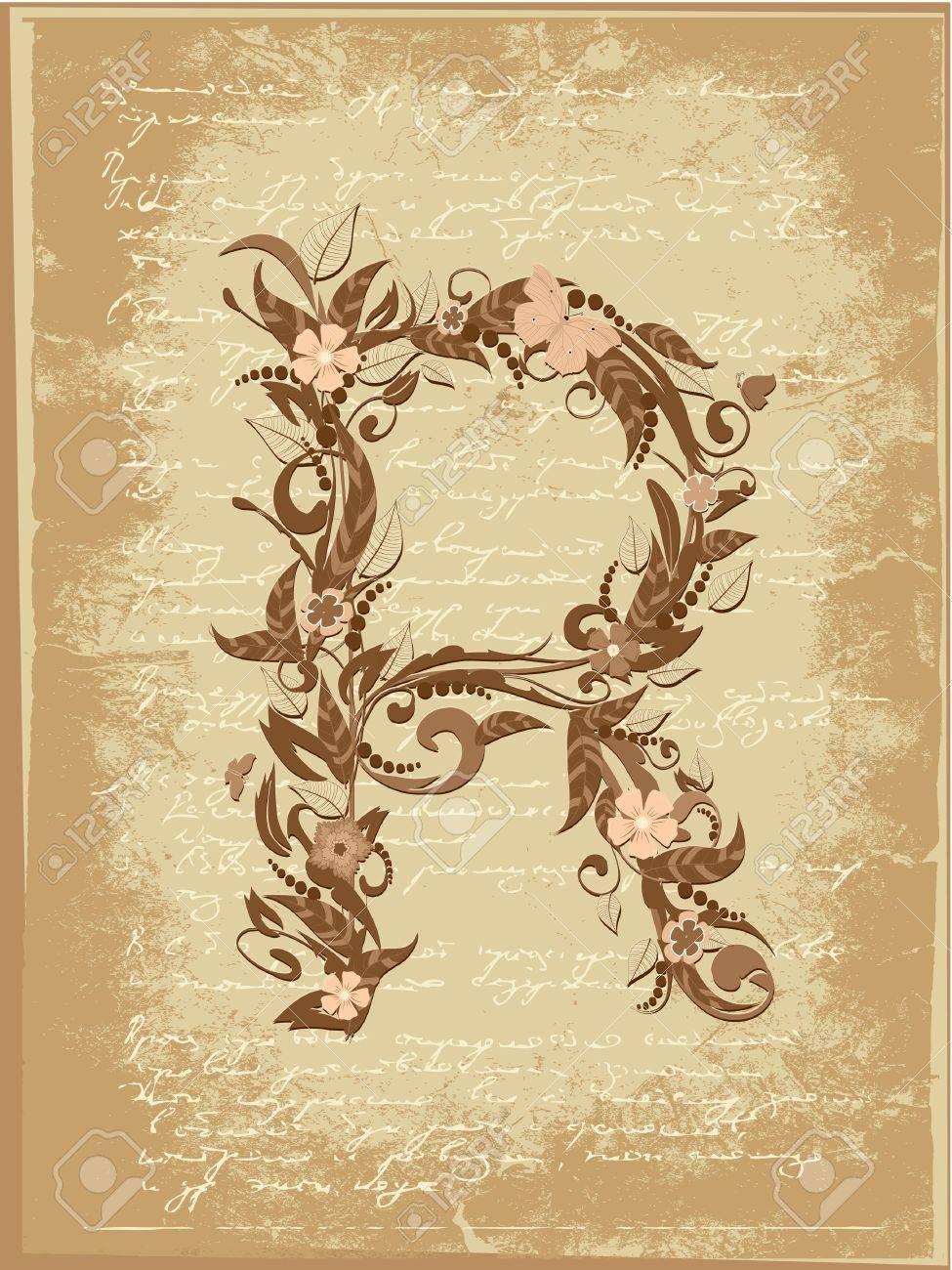 Floral letter on paper grunge Stock Vector - 9851509