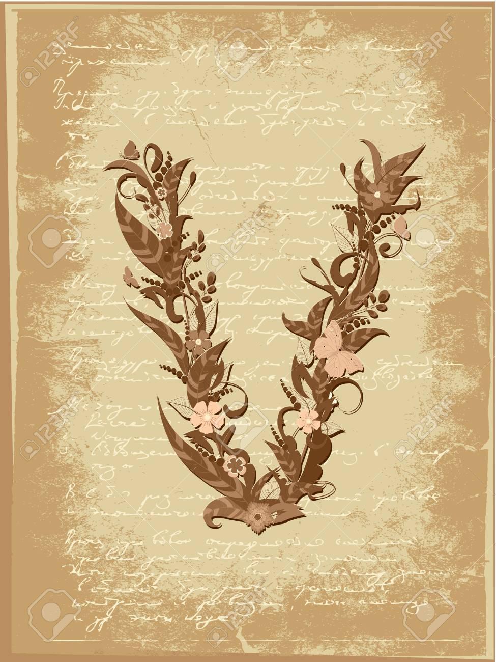 Floral letter on paper grunge Stock Vector - 9851501