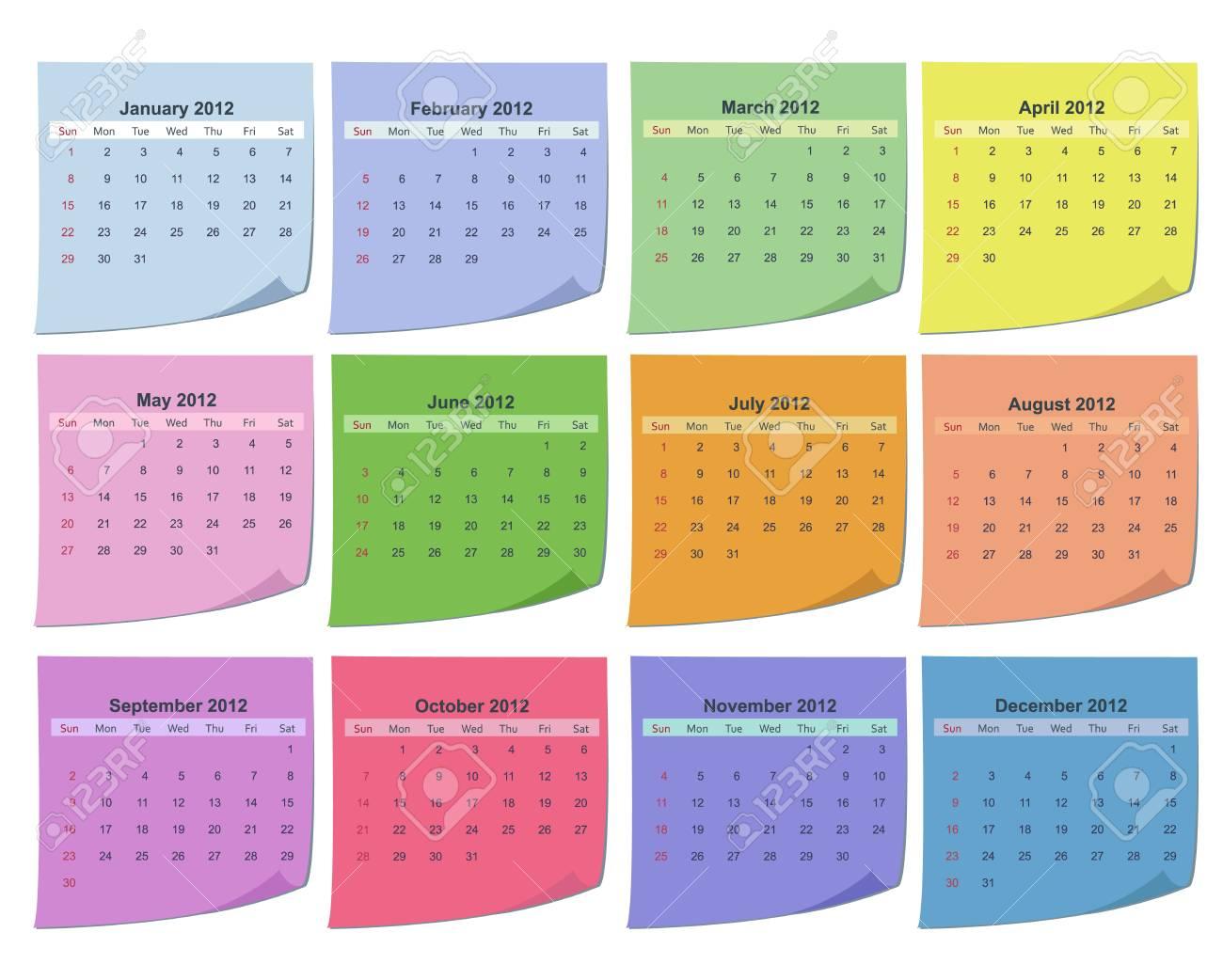 Calendar for 2012 Stock Vector - 10047560