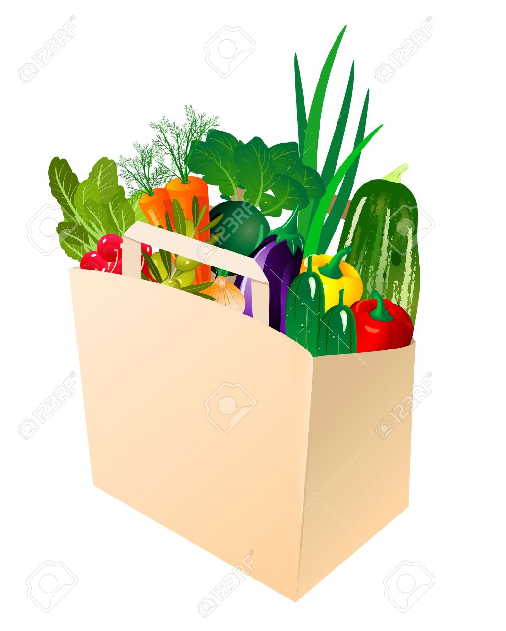 Paper Bag With Fresh Vegetables Royalty Free Cliparts, Vectors ...