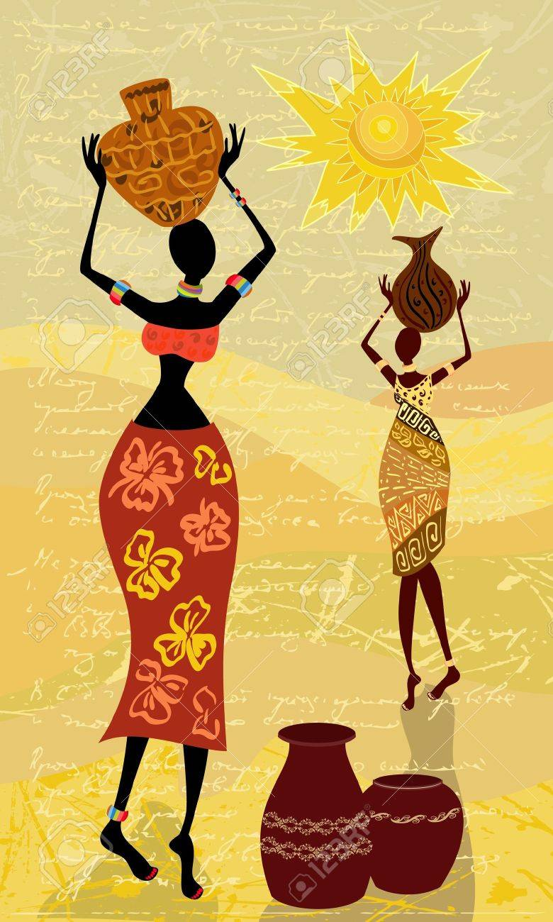 landscape with an African woman decorative Stock Vector - 10376154