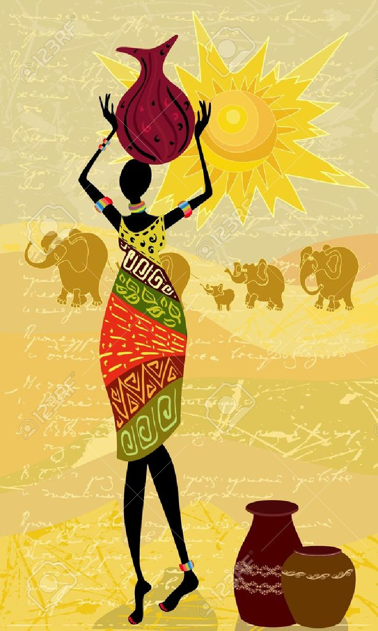 landscape with an African woman decorative Stock Vector - 10376153