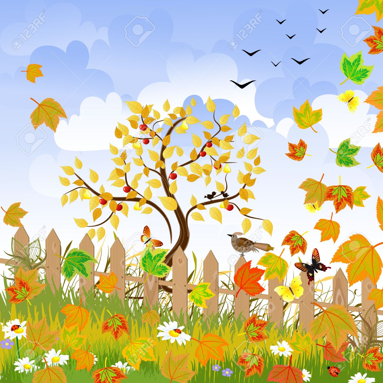 autumn landscape with a fence Stock Vector - 10454380