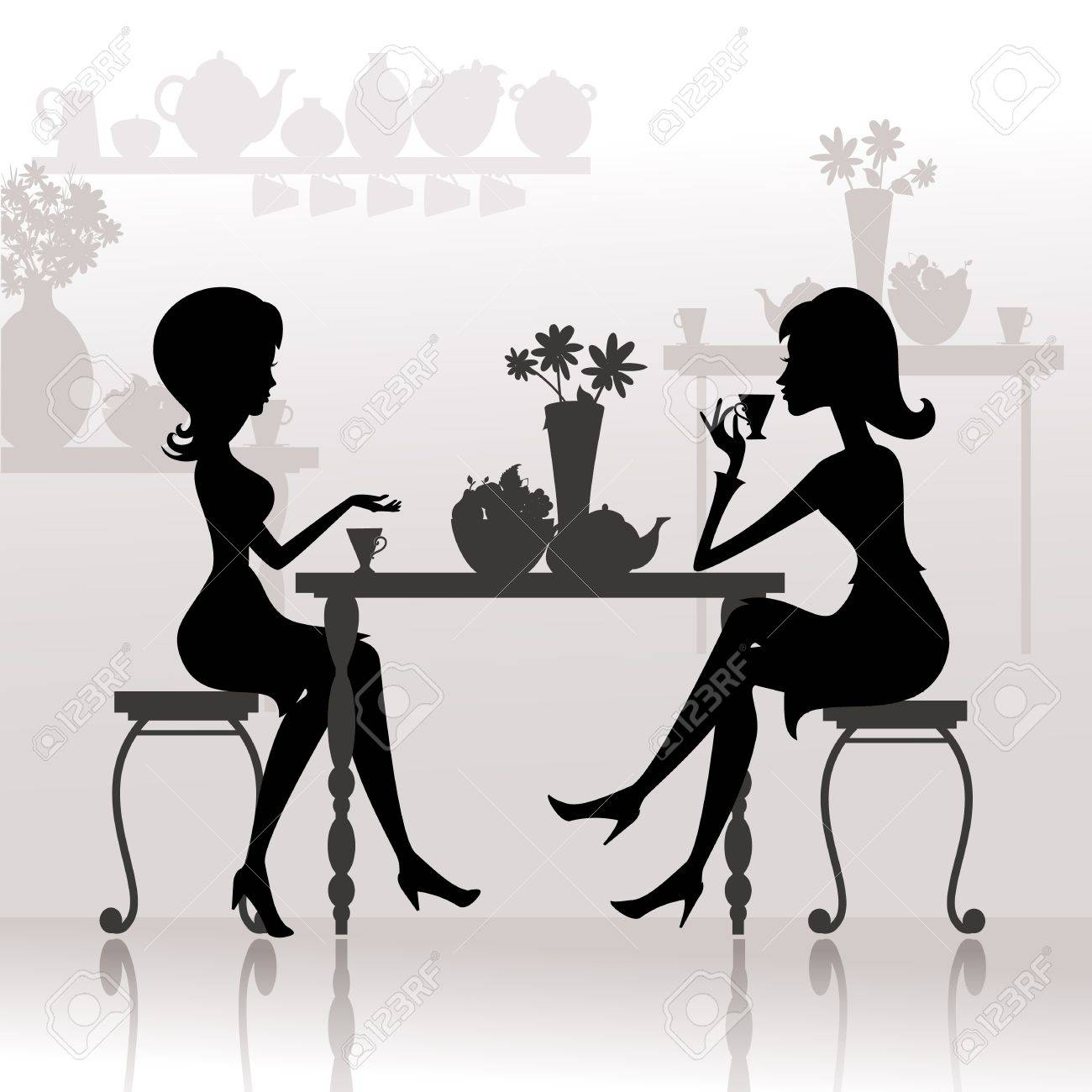 silhouette of beautiful girls in cafes Stock Vector - 10454414