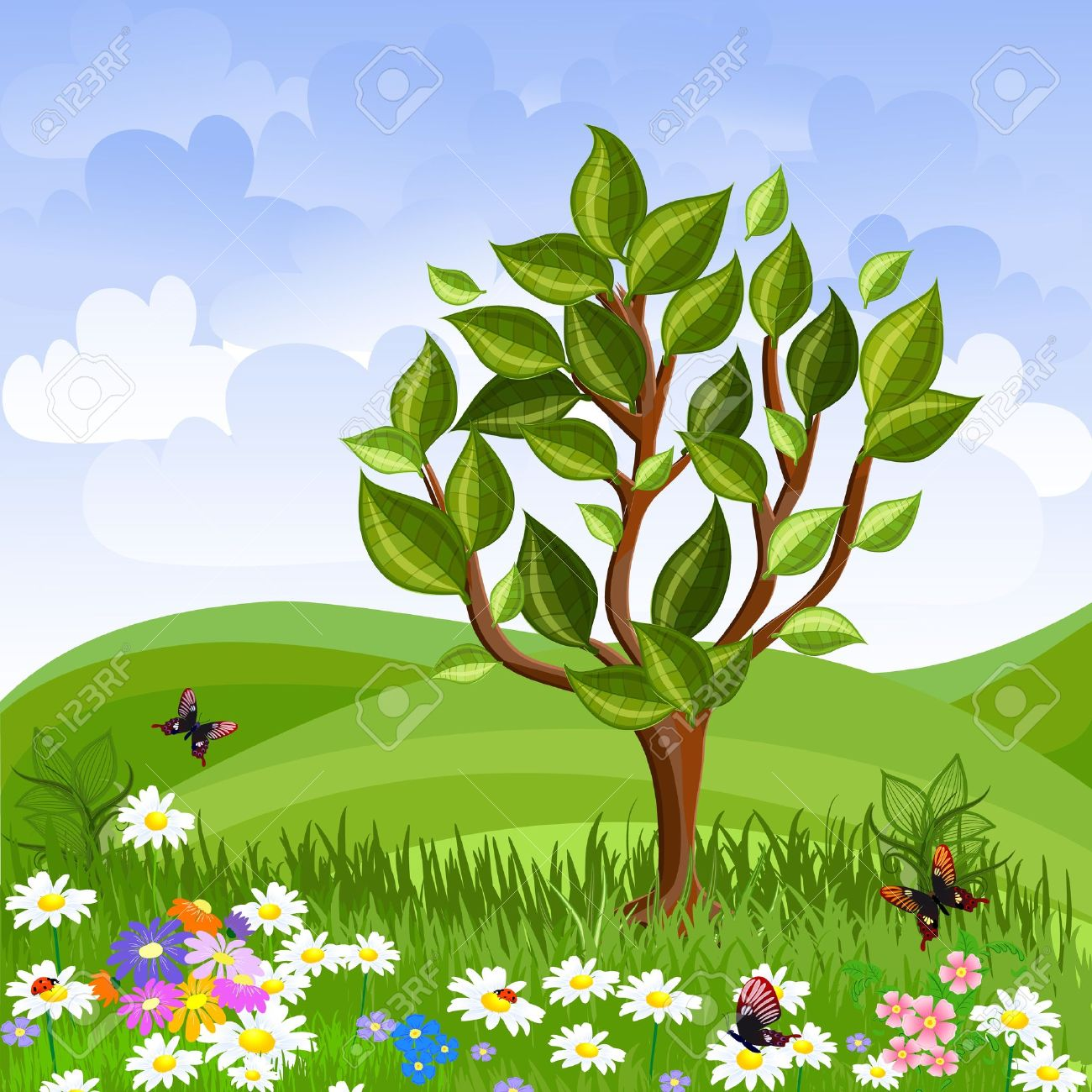 Beautiful garden cartoon - Beautiful Garden Summer Landscape With A Young Tree Illustration