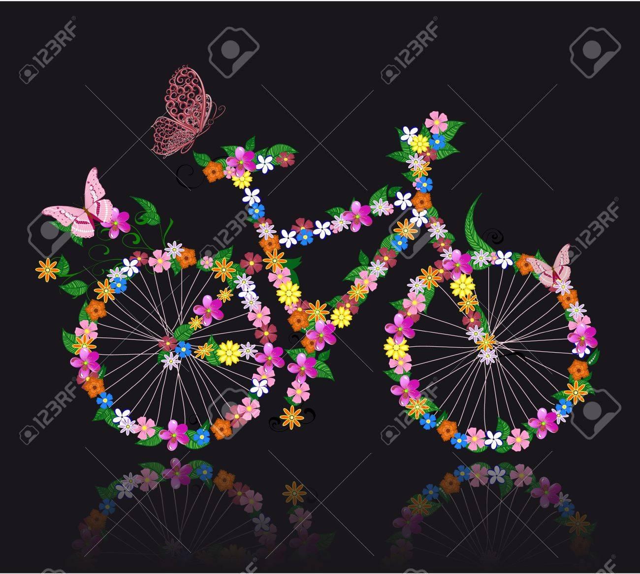 bike with flowers - 10531915