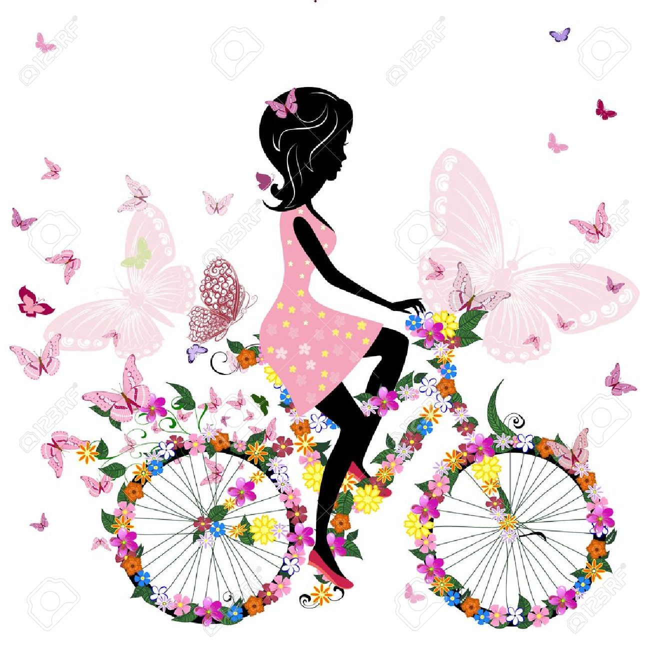 Girl on a bicycle with a romantic butterflies - 10531909
