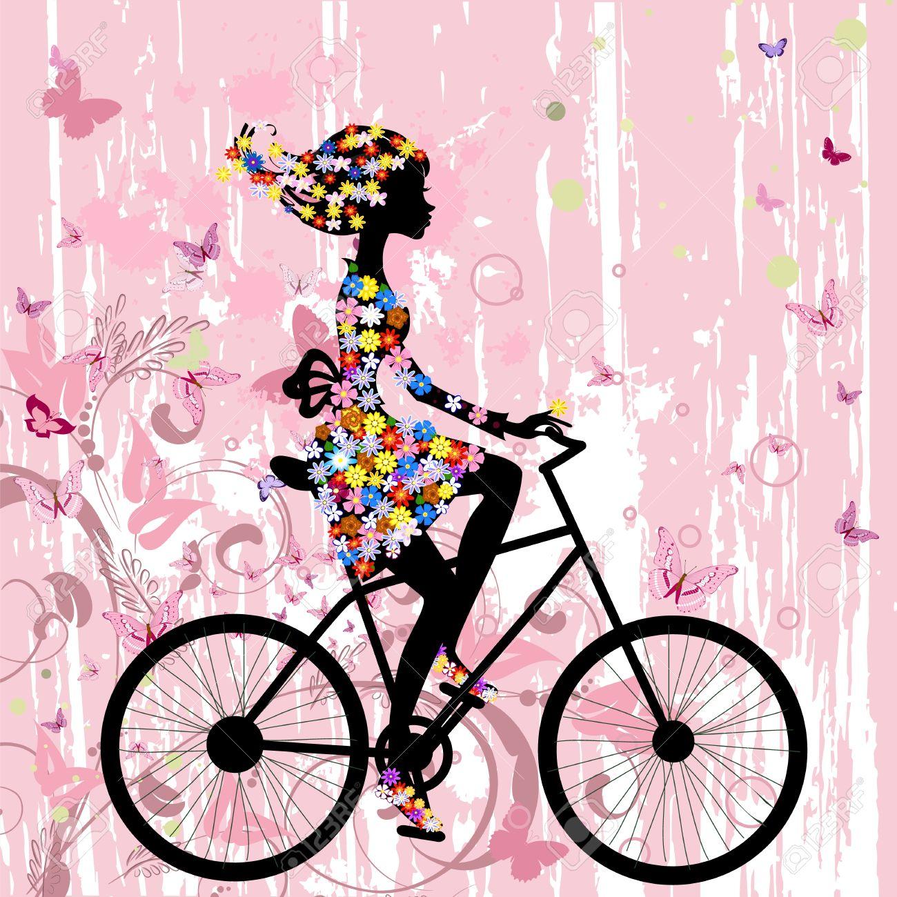 Girl on bike grunge romantic Stock Vector - 10531908