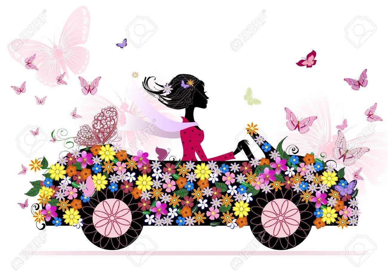 girl on a romantic flower car Stock Vector - 10617305