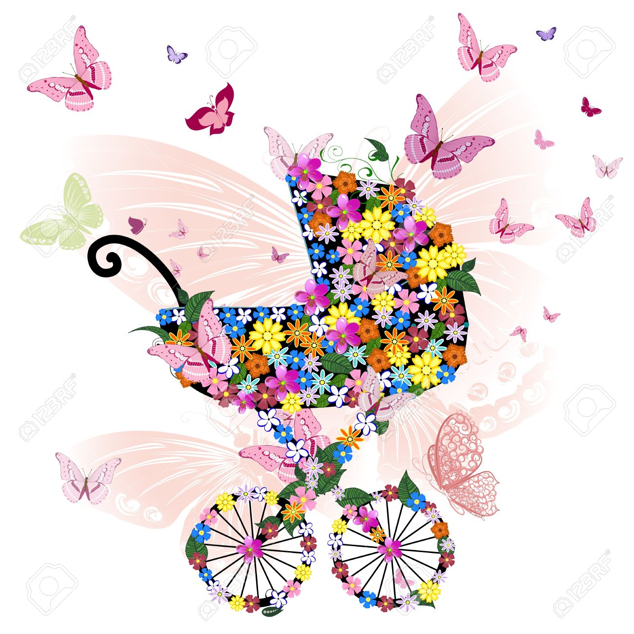 Stroller of flowers and butterflies Stock Vector - 10617307