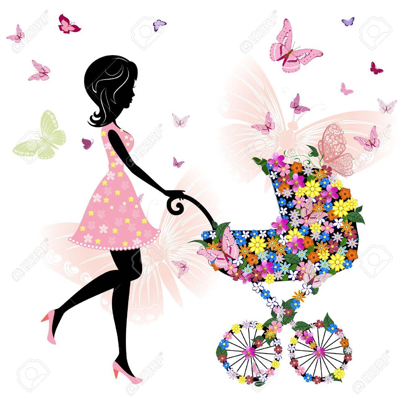 young mother with a stroller Stock Vector - 10617306