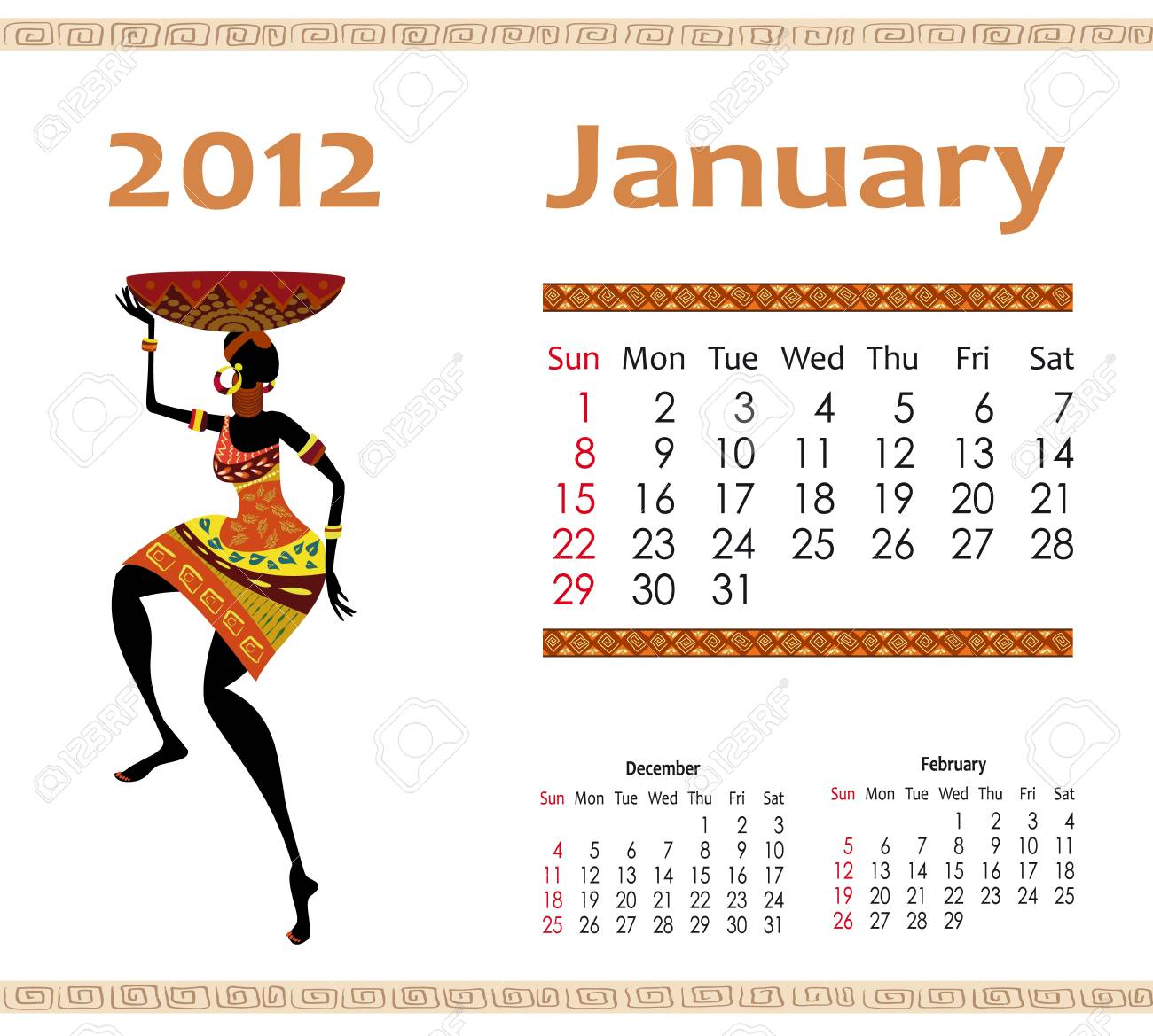 calendar for 2012 with an African woman Stock Vector - 10699091