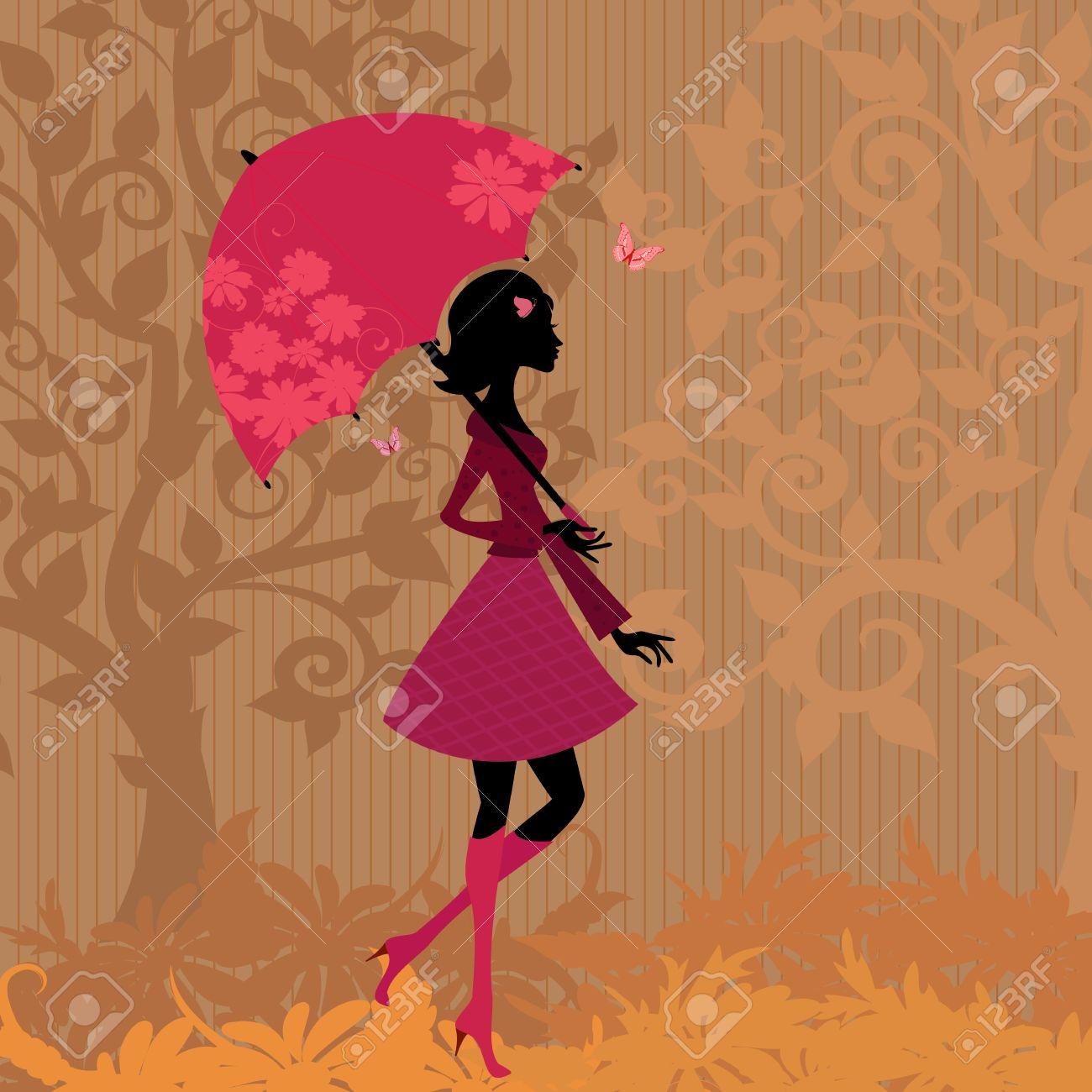 woman under an umbrella in the autumn Stock Vector - 10699097
