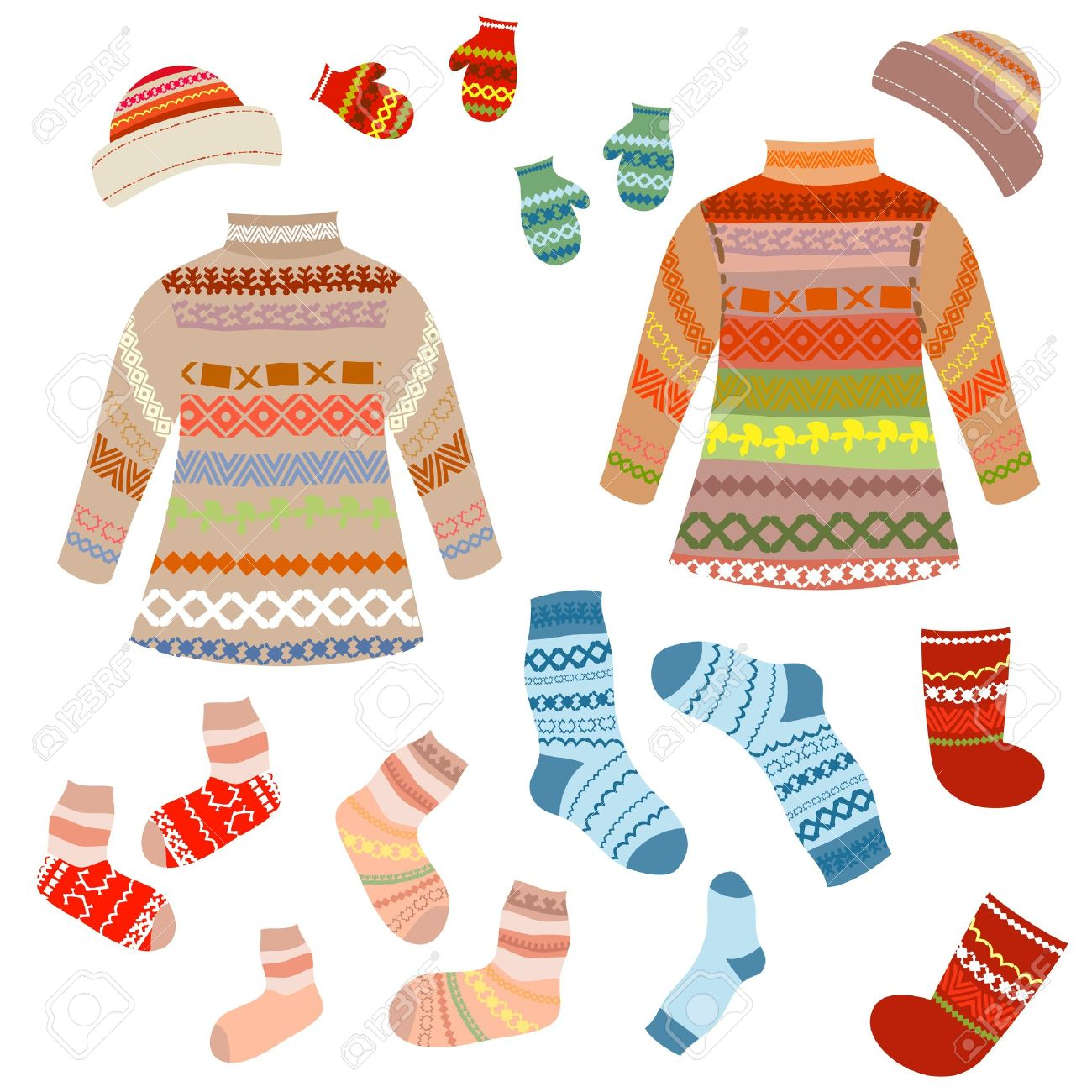 Warm knitting patterns with Stock Vector - 10901699